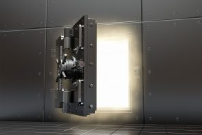 dark bank door opening to reveal light